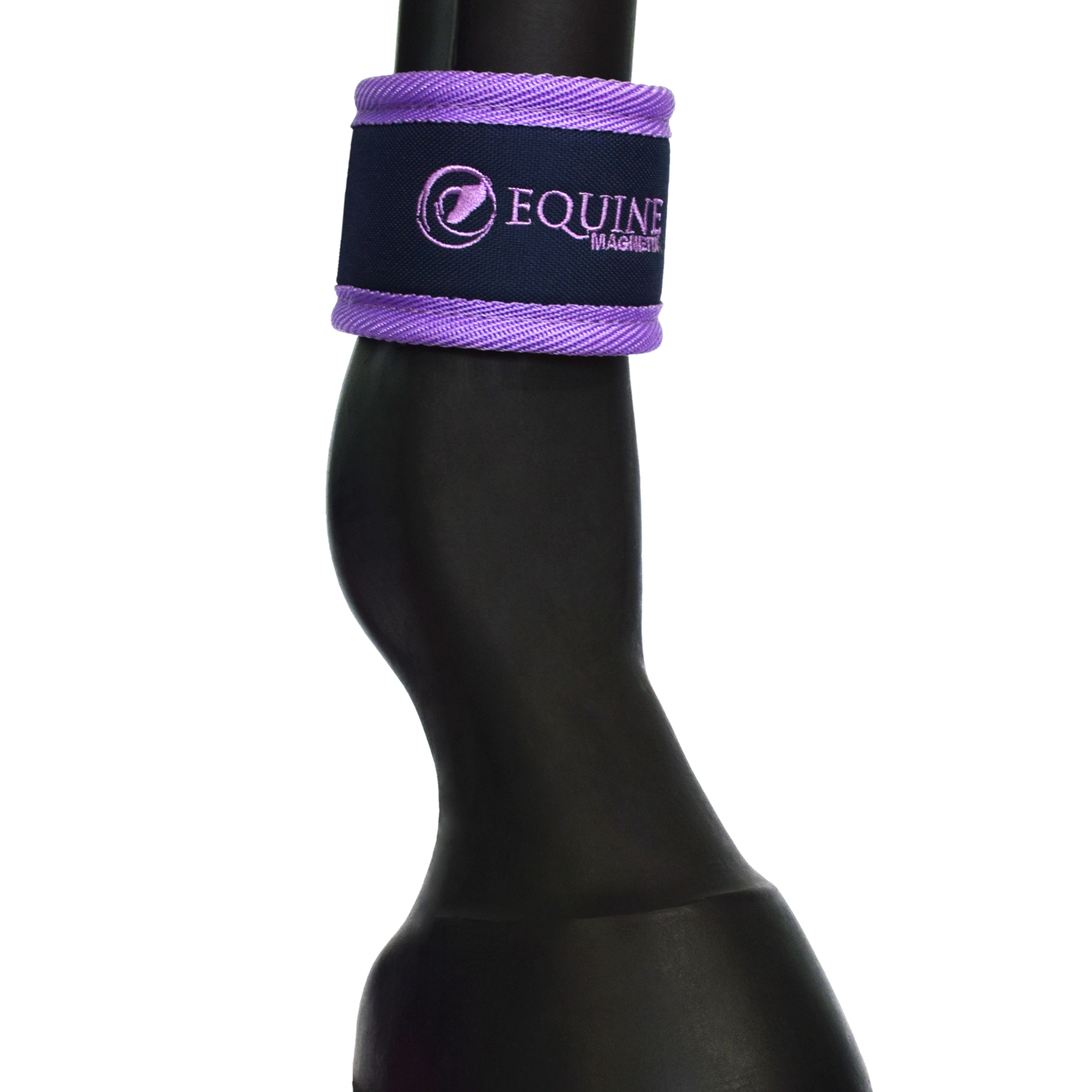 Magnetic horse ankle boots above the fetlock in purple by Equine Magnetix